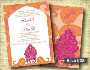 Indian Wedding Invitation Custom DIY Digital Pink by ArchanaDesign