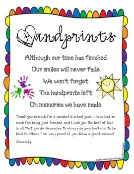 End of the Year Poem Goodbye Letter Freebie