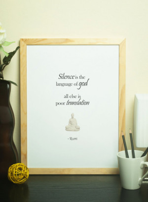 Spiritual Quotes Poster, Silence and God, Rumi Quote, Typography ...