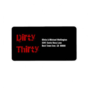 grunge_dirty_thirty_30_birthday_red_black_white_label ...