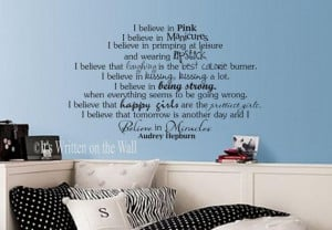 Audrey Hepburn Quote I Believe in Pink Vinyl Lettering Wall Saying ...