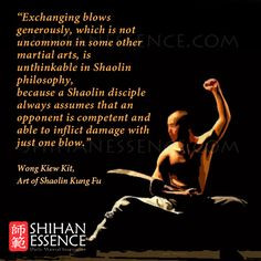 martial arts, is unthinkable in Shaolin philosophy, because a Shaolin ...