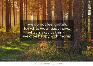 If we do not feel grateful for what we already have, what makes us ...