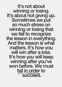It's about winning after a loss.. More