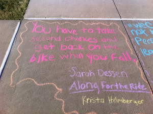 ... in quote graffiti they chalked favorite quotes from books outside