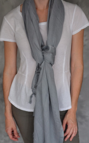 Love Quotes Linen/Viscose Tassel Scarf in Driftwood