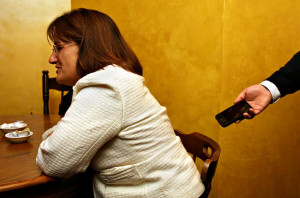 communications director, right, records a conversation as Ann Kuster ...