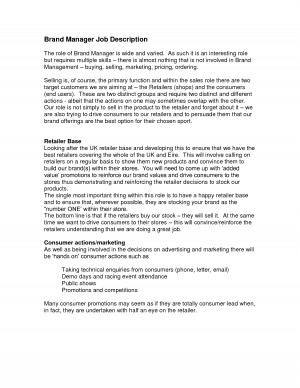 Brand Manager Job Description Sample