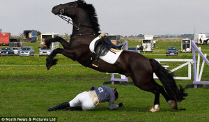 Lucky: The horse jumps over Helen, leaving her with only a few bruises