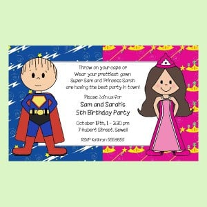Adorable Superhero - Princess Twin Invite from Practically Darling ...