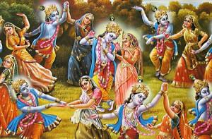 Lord Krishna Dancing with Gopis in the Rasa Lila