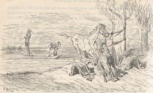 Don Quixote fights a windmill on his horse, Rocinante, as Sancho Panza ...