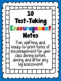 Encouraging Notes for Standardized Tests