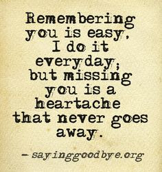 Remembering you is easy, i do it everyday, but missing you is a ...