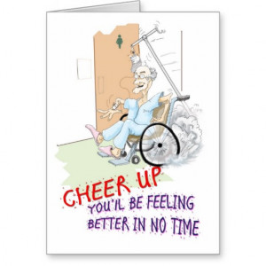 Get Well soon card. Funny Grandpa in wheelchair