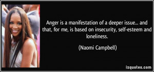 ... is based on insecurity, self-esteem and loneliness. - Naomi Campbell