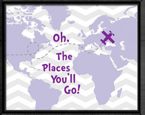 ... you'll go map dr seuss quotes kids baby girl nursery girls room decor