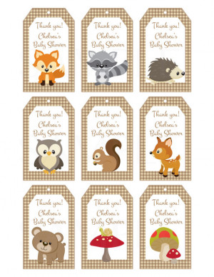 Woodland Friends Forest Animals Theme Baby Shower Favor Tags ...