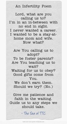 Prayer for #infertility. THIS describes me to a tee. I wish I wrote it ...