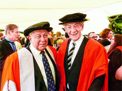 Yusuf Hamied left with actor Ian McKellen Picture by Amit Roy