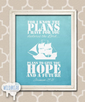 Printable Nursery Wall Art, Scripture Quote Bible Verse, I know the ...