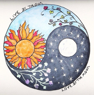 ... indie moon night stars live flowers sun yin and yang soft grunge
