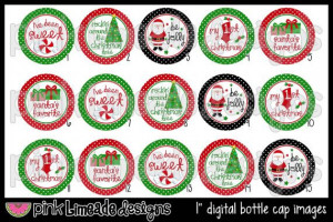 Santa's Favorite cute Christmas sayings 1 inch by PinkLimeadeD, $2.00