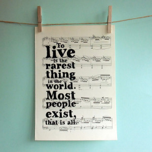 Oscar Wilde Inspirational Quote Typographic Art Print on Vintage Sheet ...