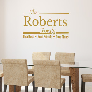 ... Family Name Wall Quote Decal- Good Food, Good Friends, Good Times