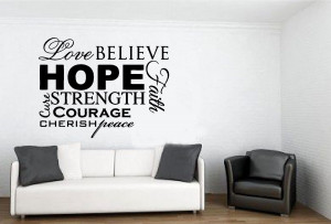 Love Hope Believe Faith Peace Decal Wall Sticker Art Vinyl Decor Quote ...