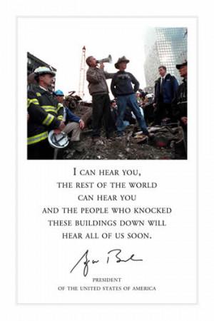 Bush speaking on megaphone in Manhattan, after the September 11 ...