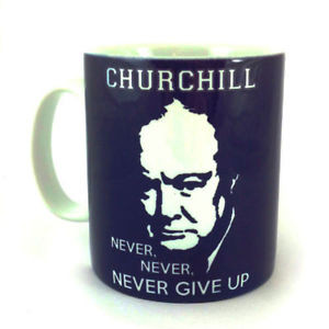 Details about NEW WINSTON CHURCHILL QUOTE NEVER GIVE UP GIFT MUG CUP ...