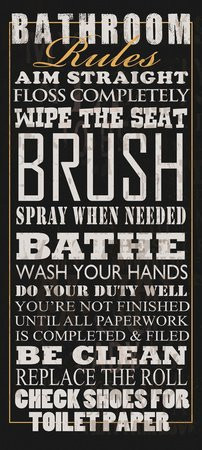Bathroom Rules by Jim Baldwin Signs Sayings art wall retro customized ...