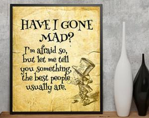 Alice in Wonderland printable , Alice in Wonderland Quote , Lewis ...