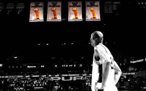 Tim Duncan Spurs Championship Banners - San Antonio Spurs...