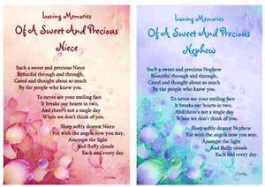 ... -MEMORIAL-VERSE-SWEET-PRECIOUS-NEICE-NEPHEW-GRAVESIDE-MEMORIAL-CARD