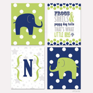 Elephant Wall Art Print Quote Frogs and Snails and Puppy Dog Tails ...