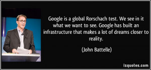 Google is a global Rorschach test. We see in it what we want to see ...