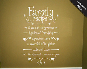 Family Recipe Wall Decal Vinyl Wall Quote ...