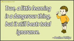 ... learning is a dangerous thing, but it still beats total ignorance