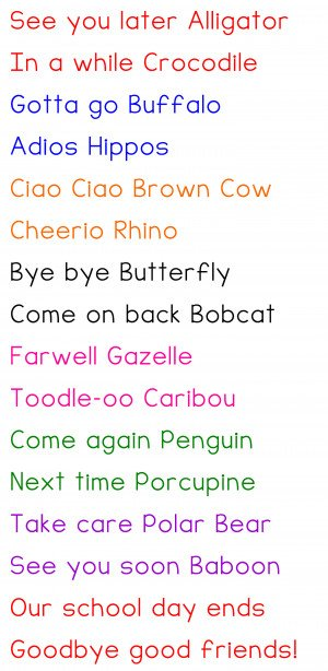 Our Fun Goodbye Chant