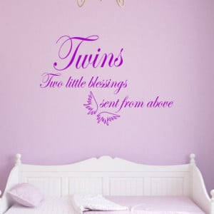 Twin Babies Wall Art Quote | Two Little Blessings Sent From Above