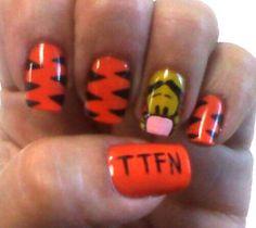 Tigger...TTFN! nail art. More
