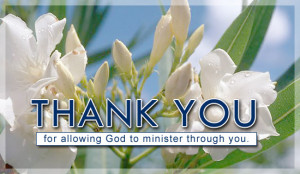 Thank You For Allowing God To Minister Ecard