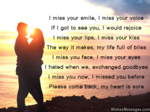 Sweet I miss you poem to girlfriend from boyfriend for missing her ...