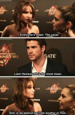 Jennifer Lawrence claims that Liam Hemsworth is the most mean