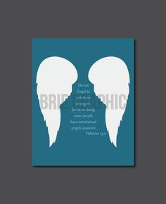 Angel Wings Bible Quote 8 x 10 Print Wall Art by BrieGraphic, $15.00