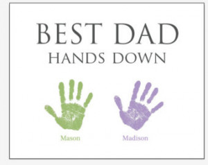 Father's Day gift handprint art Dad from children or twins ...