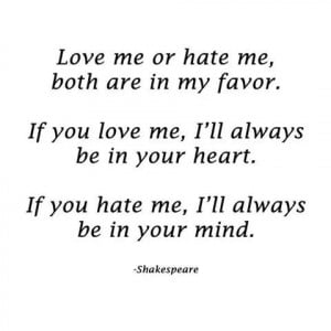 famous quotes, hate, heart, love, mind, text, william shakespeare ...