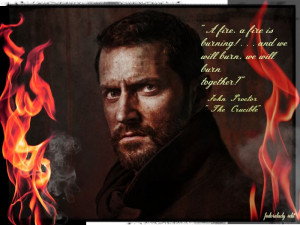 ... of Old Vic image of RA as John Proctor with quote from